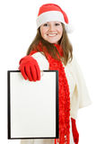 Happy Christmas woman with tablet in hand Stock Photography
