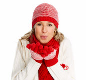 Happy christmas woman in winter clothing. Stock Photos