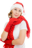 Happy Christmas woman wistfully looking up Royalty Free Stock Photo