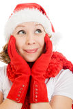 Happy Christmas woman wistfully looking up Royalty Free Stock Photos
