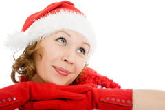 Happy Christmas woman wistfully looking up Stock Photo