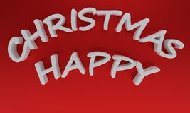 Happy Christmas written on a red background, 3d rendering. Happy Christmas written on a red background, 3d render Royalty Free Stock Photography