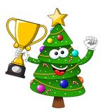 Happy Christmas or xmas character mascot winner cup isolated on white stock illustration