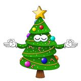 Happy christmas xmas tree meditation relaxing character isolated vector illustration