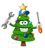 Happy christmas xmas tree repariman or repair man character fixing with screwdriver and wrench isolated. On white vector illustration