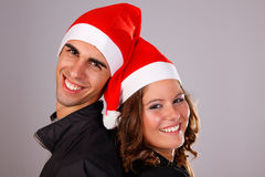 Happy christmas young couple Royalty Free Stock Photos