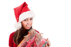 Happy christmas young woman with a gifts, Royalty Free Stock Photography