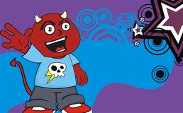 Happy chubby demon kid cartoon expression background. Funny little chubby demon kid cartoon expression background in vector format Royalty Free Stock Photo