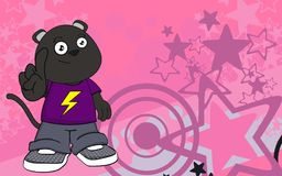 Happy chubby panther cartoon expression background Royalty Free Stock Photos