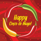 Happy Cinco de Mayo on a bright red background. Cinco de Mayo meaning fifth of May in Spanish on a red background