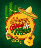 Cinco de Mayo banner with fiesta party symbols. Happy Cinco de Mayo festive banner with Latin American fiesta party symbols. Festival sombrero, maracas and Royalty Free Stock Photo