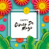 Happy Cinco de Mayo Greeting card. Colorful Orange Paper Fan and Cactus in paper cut style. Mexico, Carnival. Square. Frame on blue. Space for text. Vector Stock Images