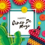 Happy Cinco de Mayo Greeting card. Colorful Paper Fan, Funny Pinata and Cactus in paper cut style. Mexico, Carnival. Square frame on blue. Space for text