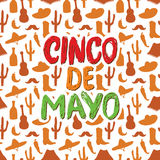 Happy Cinco de Mayo greeting card Hand lettering. Mexican holiday. vector illustration. Stock Photography
