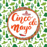 Happy Cinco de Mayo greeting card Hand lettering. Mexican holiday. vector illustration. Stock Image