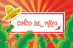 Happy Cinco de Mayo Greeting card. Origami Mexican sombrero hat, succulents and red chili pepper. Rectangle frame Royalty Free Stock Images