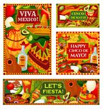 Happy Cinco de Mayo Mexican holiday greetings. Mexican holiday Cinco de Mayo posters and fiesta celebration banners. Vector Cinco de Mayo party traditional food stock illustration