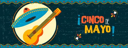 Happy cinco de mayo mexican mariachi web banner. Happy Cinco de Mayo party illustration. Traditional mexican celebration web banner of mariachi guitar and hat on royalty free illustration
