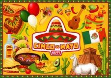 Mexican holiday, Happy Cinco de Mayo greetings. Happy Cinco de Mayo, Mexican 5th May holiday fiesta. Vector party decoration symbols and Cinco de Mayo food, lama stock illustration