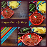 Happy Cinco de Mayo, 5th May, collage. Happy Cinco de Mayo, 5th May, party table celebration collage with Mexican colors, food, background and sample text Stock Images