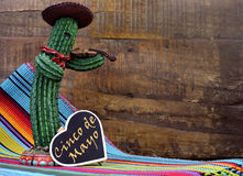 Happy Cinco de Mayo, 5th May, party celebration with with fun Mexican cactus and blackboard sign Royalty Free Stock Image
