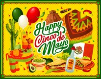 Cinco de Mayo pinata, Mexican food and drink. Happy Cinco de Mayo vector greeting card with Mexican fiesta party food and drink. Chilli tacos, nachos and tequila vector illustration