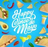 Mexican food and drink. Cinco de Mayo fiesta party. Happy Cinco de Mayo vector greeting card with Mexican fiesta party food and drink frame. Tequila, margarita royalty free illustration