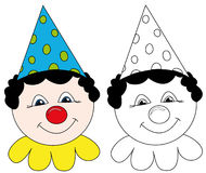 Happy circus clown. Smiling circus clown with red nose and dotted hat. The blank version is useful for coloring book pages for kids Stock Image