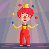 Happy circus clown. Cartoon vector illustration Royalty Free Stock Photography