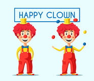 Happy circus clown. Cartoon vector illustration Stock Photos