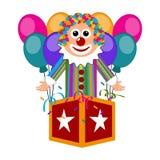 Happy circus clown on a surprise box. Vector illustration design vector illustration