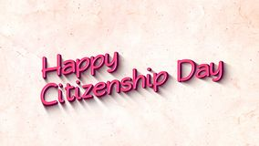 Happy Citizenship Day in 3D Text Background. Happy Citizenship Day  greeting text with particles in 4K 3840x2160px royalty free illustration
