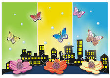 Happy city. Illustration of city?butterfly & flowers Royalty Free Stock Photo