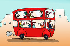 Happy city bus. A red happy city bus full of people. Digital color Stock Photography