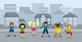 Happy city kids. Illustration of happy multi-ethnic kids with urban background Royalty Free Stock Photo
