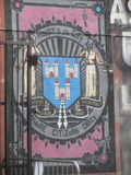 Happy is the city where citizens obey. Wall painting in Dublin, Ireland; city motto royalty free stock photo