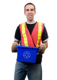 Happy City Worker. A happy city worker, smiling while holding a blue box, isolated against a white background Stock Images