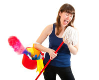 Happy cleaner Royalty Free Stock Photos