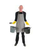 Happy cleaner with equipment Stock Photo
