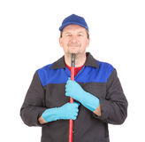Happy cleaner with mop. Stock Photography