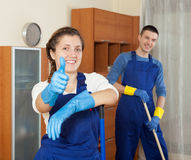 Happy cleaners Royalty Free Stock Photo