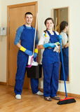 Happy cleaners team is ready Royalty Free Stock Images