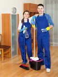 Happy cleaners team working Royalty Free Stock Photography