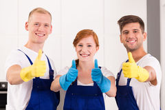 Happy cleaners at work royalty free stock image