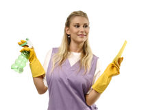 Happy cleaning lady Stock Image
