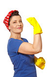 Happy cleaning lady copy space Royalty Free Stock Images