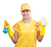 Cleaning lady in yellow uniform Royalty Free Stock Images