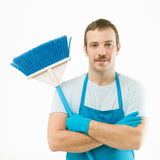 Happy cleaning man Stock Photo