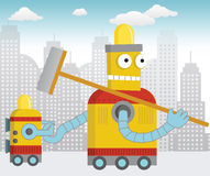Happy Cleaning Robot Royalty Free Stock Photos