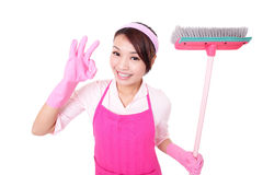 Happy Cleaning woman housewife. Excited showing ok isolated on white background. asian Stock Image